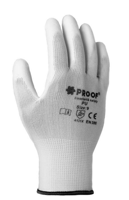 Rękawice robocze Proof białe powlekane poliuretanem